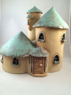 fairy house, Green roofed fairy mansion with turet, oneoff, handmade, fairy house for the garden.