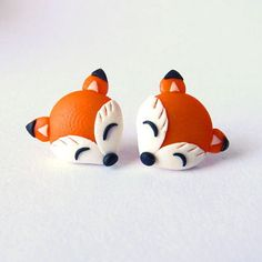 Fox Earrings, Animal Earrings, Polymer Clay Earrings, Fimo Jewellery, Childrens Earrings, Girls Earrings, Orange Small Earrings, Studs