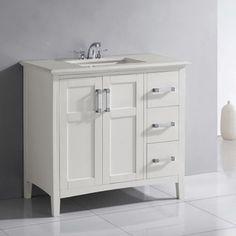 Malibu Pure White Single Sink 36-inch Bathroom Vanity | Overstock.com Shopping - The Best Deals on Bathroom Vanities