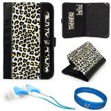 Yellow Leopard Print SumacLife Dauphine Edition Executive Leather Portfolio Protective Carrying Case Cover for Samsung Galaxy Tab 2 (7.0) 7-inch Android 4.0 Tablet + Blue Hifi Noise Reducing Earphones + SumacLife TM Wisdom Courage Wristband