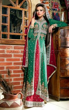 Green and red pakistani style bridal wear visit http://panachehautecouture.co.in/ for more collection