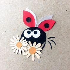 Ladybug and daisies, paper collage illustration @harakrankkila