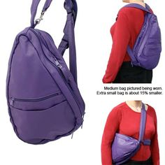 Purple Leather Backpack, Sling Bag, Travel Bag- Extra Small