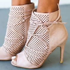 Shoespie Light Pink Open Toe Bootie Sandals