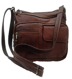 Concealed Carry Leather Gun Purse w/ Organizer & Shoulder Strap