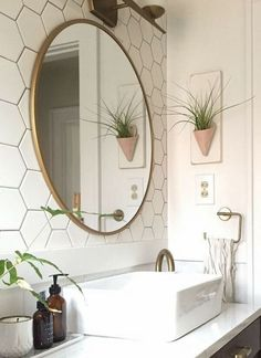 Modern Bathroom Mirror With Shelf Modern Bathroom Mirror With Shelf. Such modern bathroom mirror will be okay to have no motifs at all on the frame. Home, Trendy Bathroom, Round Mirror Bathroom, Modern Bathroom, Bathroom Renovations, Bathrooms Remodel, Bathroom Decor, Bathroom Mirror Design, Bathroom Inspiration