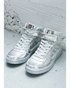 buy popular 4066a c4dc3 Silver Lining Metallic High Top Sneakers  Dolls Kill Velcro Shoes, Velcro  Straps, Metallic