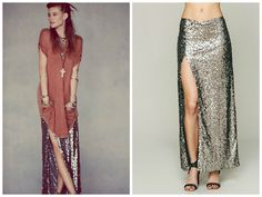 DIY Sequin Maxi Skirt! the hardest part for a beginner is handling the fabric BUT i think a novice could make this...before you cut your expensive fabric tho, make it out of a cheaper knit fabric as a test!