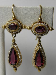 Antique Victorian Etruscan 14K Gold Garnet & Seed Pearl Teardrop Dangle Earrings