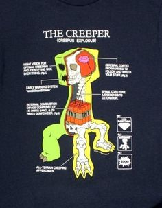 Amazon.com: Jinx Official Licensed Minecraft Creeper Anatomy Men's T-shirt: Clothing