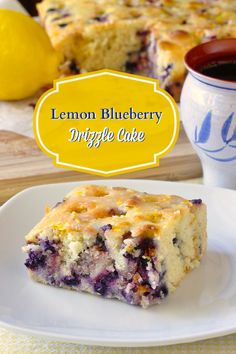 This Blueberry Lemon Drizzle Cake is a great weekday comfort food dessert when served warm or let it cool for a great addition to packed lunches or as an afternoon snack.