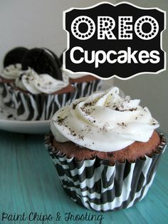 Oreo Cupcakes:  Chocolate Cupcakes with Marshmallow Buttercream and an Oreo baked right into the cupcake!  MyRecipeMagic.com
