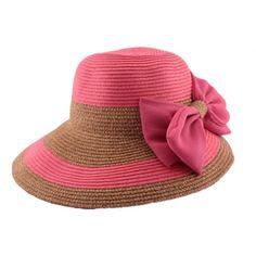 Chapeau paille Vésuve en mottled Saumon et Naturel #mode #ete #femme #fashion #chic sur Hatshowroom.com votre boutique Headwear.