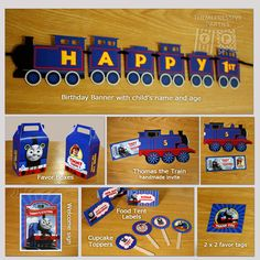 Start your engine and grab this Thomas the Train themed PERSONALIZED and PRINTED party supplies package for your boy! Each item is lovingly