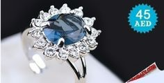 Platinum Plated Princess Ring with an Ocean Blue Sapphire & Swarovski Elements Limited Quantity Available  to check/buy the product, click on the below link: http://www.kobonaty.com/products/deal/kobonaty-direct/979/