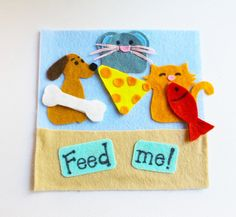 Feed Me Page for Quiet Book/ Busy Book dog mouse by GumDropKidShop