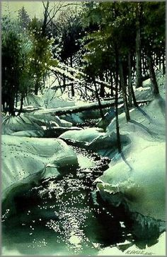 Winter Brook by watercolor artist Nita Engle - I've always loved her illustrations Watercolor Landscape, Watercolour Painting, Landscape Art, Landscape Paintings, Watercolors, Art Aquarelle, Watercolor Techniques, Winter Landscape, Winter Scenes