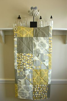 Modern Baby Quilt -  Optic Blossom - Amy Butler -  Gender Neutral Baby Blanket in Grey, Mustard Yellow, and Cream. $98.00, via Etsy.