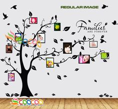 "large family tree wall decal | Wall Decal Sticker Removable Photo Frame Tree with Family Quote 39""H x ..."