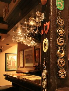 Horse brass hanging in a pub