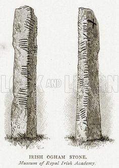 Irish Ogham Stone. Illustration from A Short History of the English People by J R Green (Macmillan, 1892).