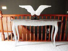 Jan Barboglio Angel Wing sculpture on Blanc D'Ivoire table in my home, photo by Joanie Ballard