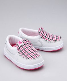 Take a look at this White  Crazy Pink Slip-On Sneaker by DC Shoes on #zulily today!  Getting another kid into DC shoes.  We are a DC kinda family.  These are so cute