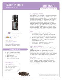 Black Pepper Essential Oil Product Information Page #doterra #essentialoils #blackpepper