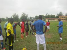 pep talk with a cross section of the players