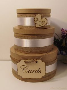 3 Tier Rustic Shabby Chic Wedding Card Box by breezemountain8, $74.99