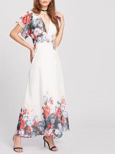 Vestido cruzado con estampado de flor - blanco