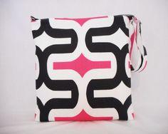 Large cross body messenger purse hipster or shoulder bag in black and hot pink large size by RiverPurseWorks, $43.00 USD