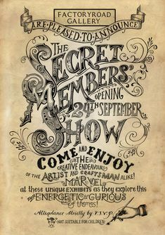 Inkymole: Announcing 'The Secret Members' Show' 2011. Inspired by vintage typography.