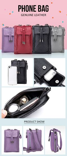 [$ 26.47] Women Genuine Leather Crossbody Bag Phone Bag Mini Crossbody Bag
