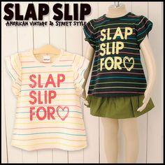 【SLAPSLIP/スラップスリップ】ボーダーフリル袖Tシャツ