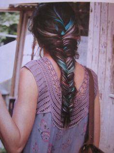 Rainbow fishtail braid with ombre hair extensions