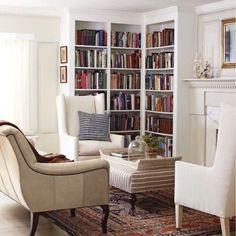 48 New Ideas For Home Library Corner House Corner Bookshelves, Built In Bookcase, Bookshelf Ideas, Corner Shelf, Book Shelves, Bookcases, Fireplace With Bookshelves, Library Fireplace, Bookshelf Decorating