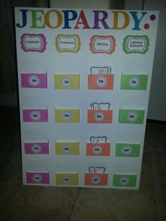 Diy jeopardy game board game boards gaming and board homemade jeopardy board solutioingenieria Images