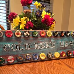 Check out this new rustic beer sign! Handmade from reclaimed wood and bottle caps from beer that I drank myself! Cheers!