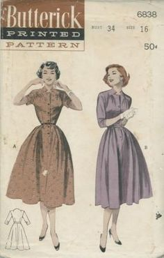An original ca. 1954 Butterick pattern 6838.  Soft Casual: Dropped Yoke; Gathered Skirt. Bright casual ready to be worn at the drop of an invitation. Note the keyhole neckline, dropped shoulder yoke underscored by gathers, the waist under-whirled by a gathered skirt. (A) Short sleeves, (B) Below-elbow length.
