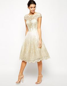 Chi Chi London | Chi Chi London Premium Metallic Lace Midi Prom Dress with Bardot Neck at ASOS