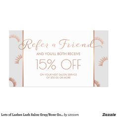 Lash Extensions Salon Gray/Rose Gold Customizable Referral Card