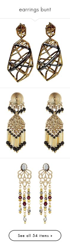 """""""earrings bunt"""" by besspredely-da on Polyvore featuring jewelry, earrings, rhodium earrings, oxidized jewelry, stud earrings, handcrafted jewelry, handcrafted jewellery, accessories, joias и gold"""