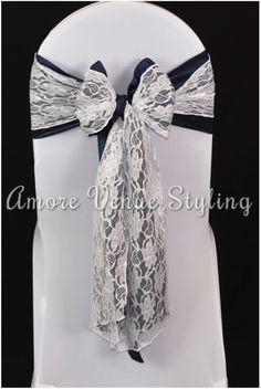 #wedding #sash #taffeta #navy #lace