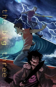 The big three Percy Jackson  Nico Di Angelo  Jason Grace Poseidon / Neptune  Zeus / Jupiter  Hades / Pluto