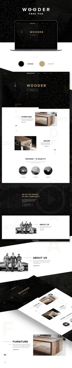 WOODER - Free PSD Template on Behance