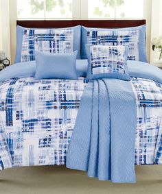 Look at this Blue Maddox Comforter Set on #zulily today!