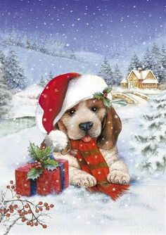 Puppy With Gift and Mistletoe