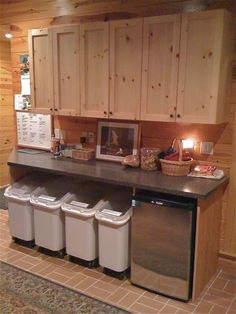 Sweet idea for kennel. Storage with a small fridge for dog foods. Love the wood choice for overhead cabinets. ~Would be good for a horse barn feed room too! Keep cold vaccines in the fridge!