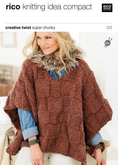 Ponchos in Rico Creative Twist Super Chunky - 123. Discover more Patterns by Rico at LoveKnitting. We stock patterns, yarn, needles and books from all of your favorite brands.